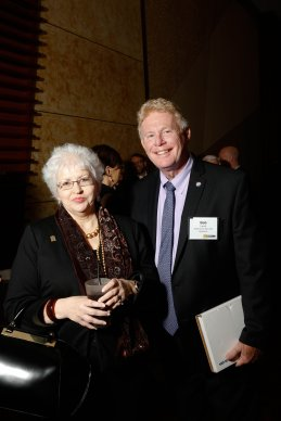 Mary Jane Holcomb, HR Director and Bob Lamb, Customer Care Director of Ackerman Security Systems attend AJC's Top Work Places party at the Cobb Energy Centre.