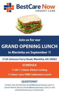 BestCare Now Grand Opening Lunch Flyer 8 10 16