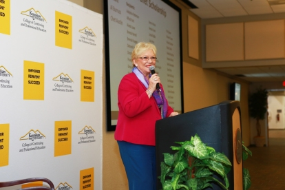 Continuing Education Dean Barbara Calhoun addresses attendees at the annual Scholarship Night Reception at KSU Center on Oct. 20.