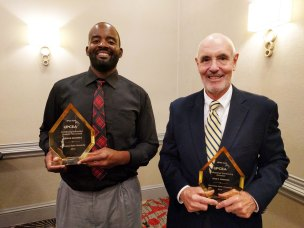 Jermile Richards, Health Coach certificate graduate, received the Continuing Education Student Award and John Edwards, longtime Paralegal certificate instructor, received the Professional Continuing Educator award at UPCEA regional conference in Dallas, Texas.