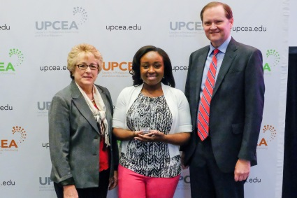 Pictured from left to right: Alice Warren, UPCEA President; Davia Rose Lassiter, director of marketing for KSU Continuing Education; Bob Hansen UPCEA CEO